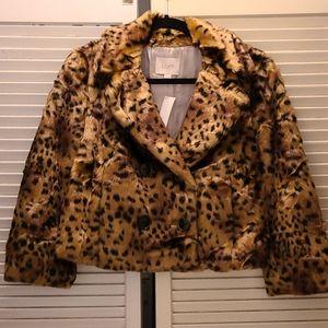 Ann Taylor Loft faux fur crop coat